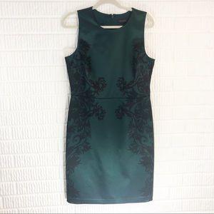 The Limited green & black sheath dress